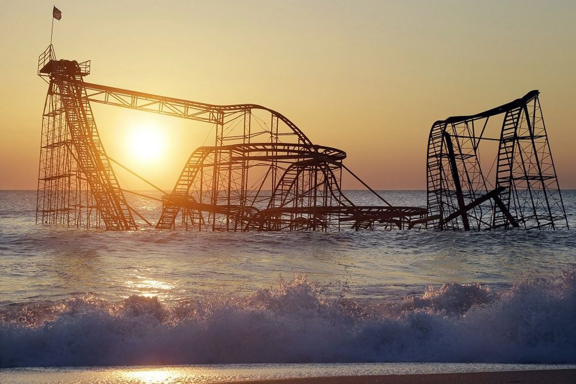 Die Jet-Star-Roller-Coaster-Achterbahn in New Jersey wurde 2012 vom Hurrikan Sandy in den Atlantik gerissen. Solche Stürme häufen sich – und sie richten immer größere Schäden an.