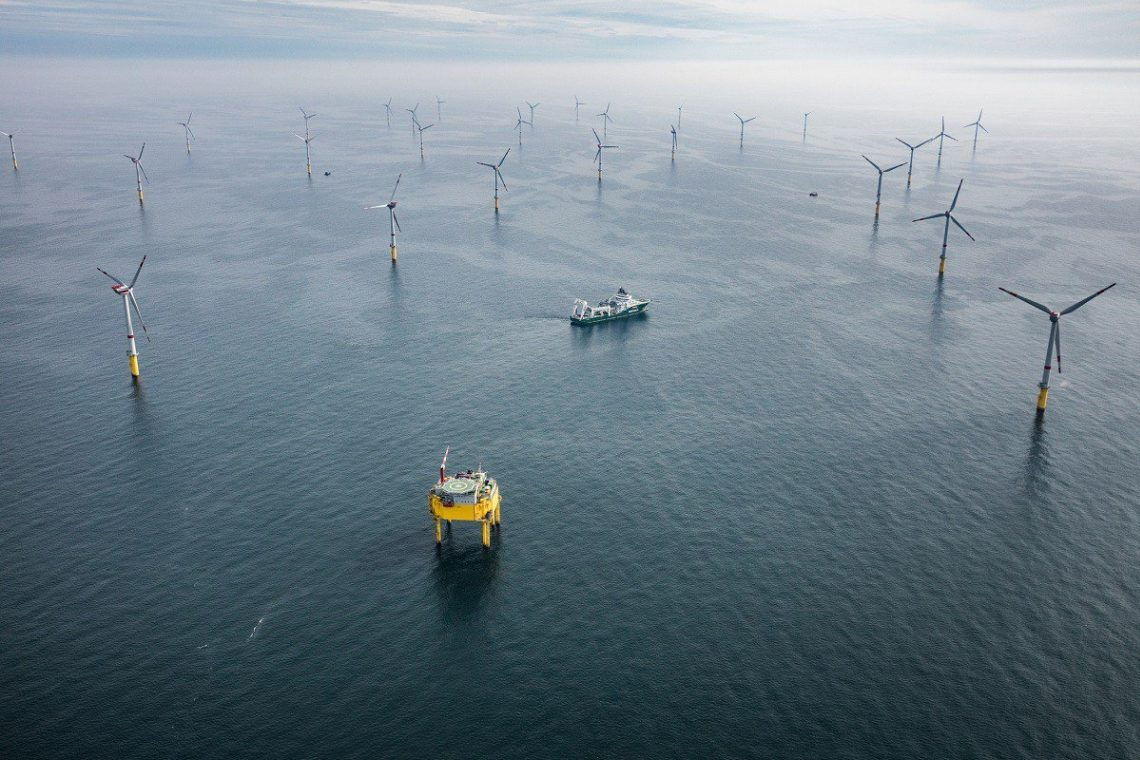 Offshore-Windpark Global Tech 1: Der Windpark mit 80 Fünf-Megawatt-Turbinen ging 2015 in Betrieb.